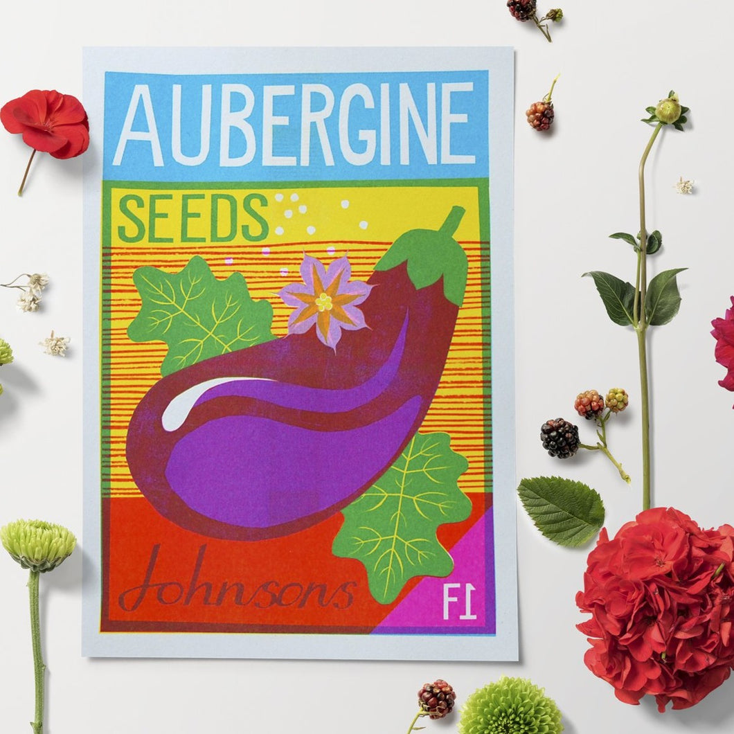 Aubergine Seeds A4 Risograph Print by Printer Johnson - ad&i