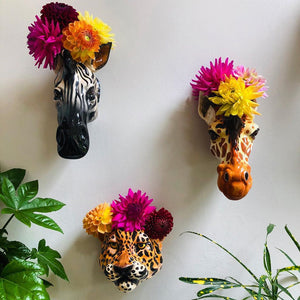 Ceramic Giraffe Head Wall Sconce Vase