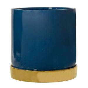 Blue Stoneware Planter With Gold Saucer - ad&i