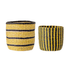Load image into Gallery viewer, Large Coloured Seagrass Planters Set of Two - ad&i