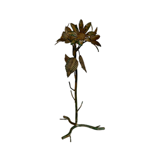 Cream Verdigris Floral Candlestick Holder