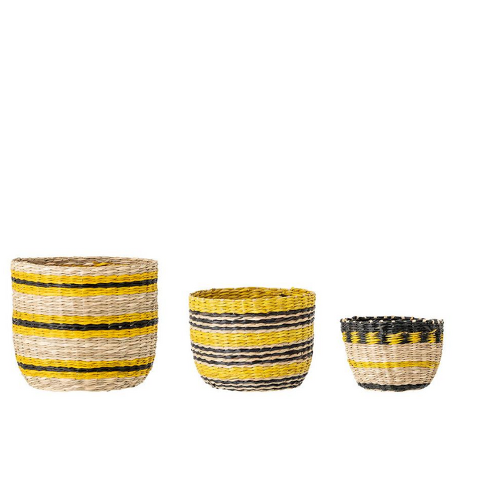 Small Coloured Seagrass Planters Set of Three - ad&i
