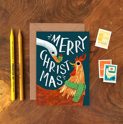 Chicken and Duck Christmas Card by Emily Nash - ad&i