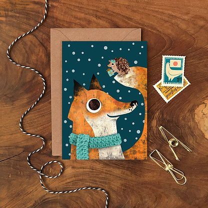 Fox and Hedgehog Christmas Card by Emily Nash - ad&i