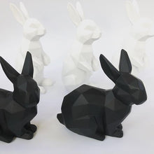 Load image into Gallery viewer, 3D Sitting Bunny Rabbit Geometric Ornament - Black