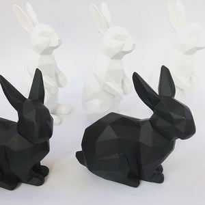 3D Sitting Bunny Rabbit Geometric Ornament - Black