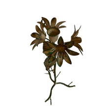 Load image into Gallery viewer, Cream Verdigris Floral Candlestick Holder