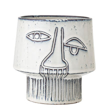Load image into Gallery viewer, Grey Stoneware Abstract Face Planter - ad&i