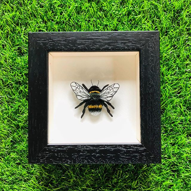 Embroidered and Painted Bumble Bee Framed Wall Art - ad&i