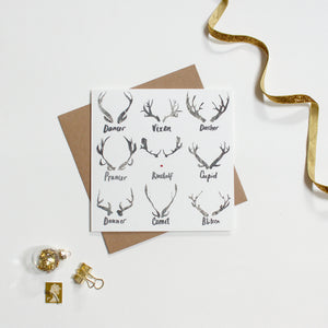 Deer Antler Christmas Card