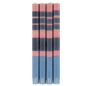 Old Rose, Indigo and Pompadour Striped Candles Set of Four
