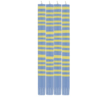 Load image into Gallery viewer, Saxe Blue & Primrose Yellow Striped Candlesticks Set of Four