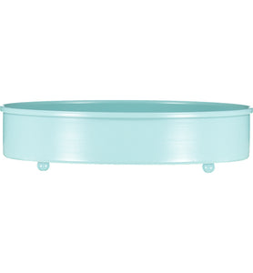 Sky Blue Metal Candle Platter Holder