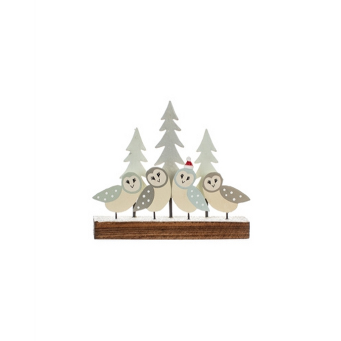 Barn Owls on a Perch Christmas Table Top Decoration