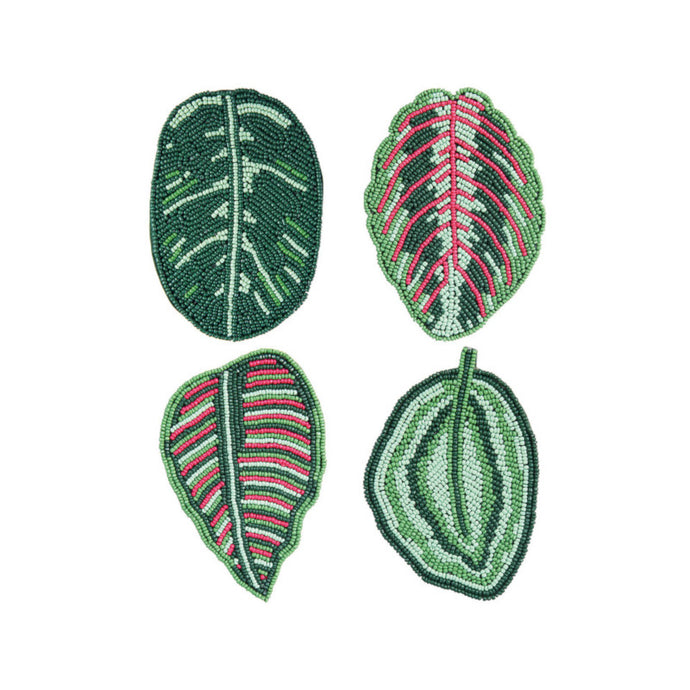Beaded Calathea Leaf Coaster Set of 4