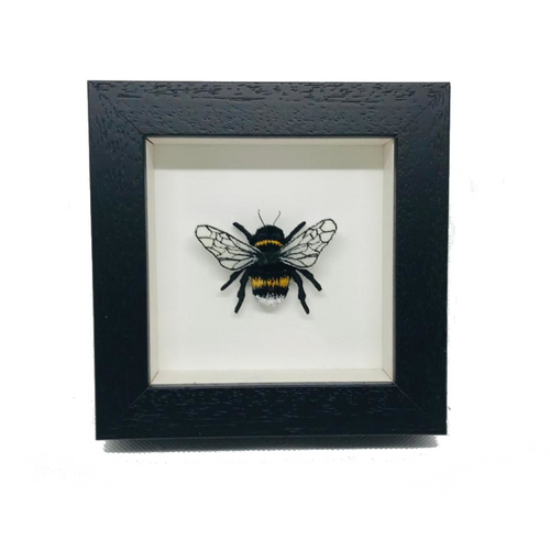 Embroidered and Painted Bumble Bee Framed Wall Art