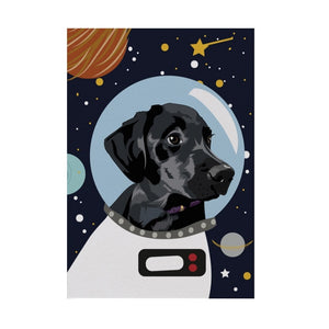 Bolt the Black Labrador Astro Space Dog Greeting Card - ad&i
