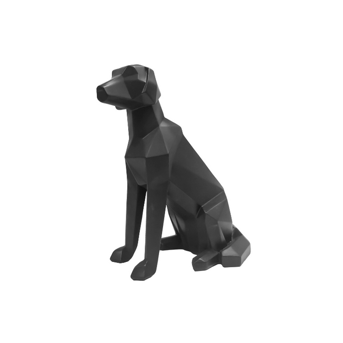 3D Sitting Dog Geometric Ornament - Black