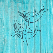 Load image into Gallery viewer, Wire Shaped Pair of Blue Whales Wall Art - Blue - ad&i