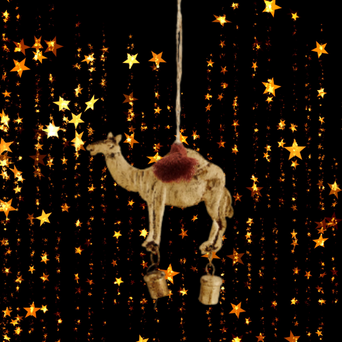 Hanging Camel and Bell Christmas Tree Decoration