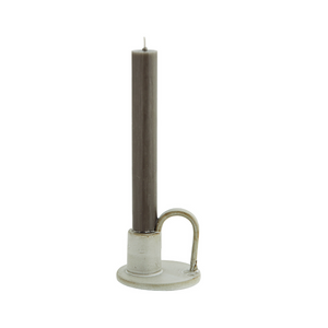 Light Stoneware Candlestick Holder