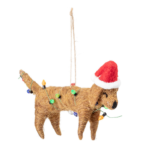Dog dressed with Fairy Lights Christmas Tree Decoration - ad&i