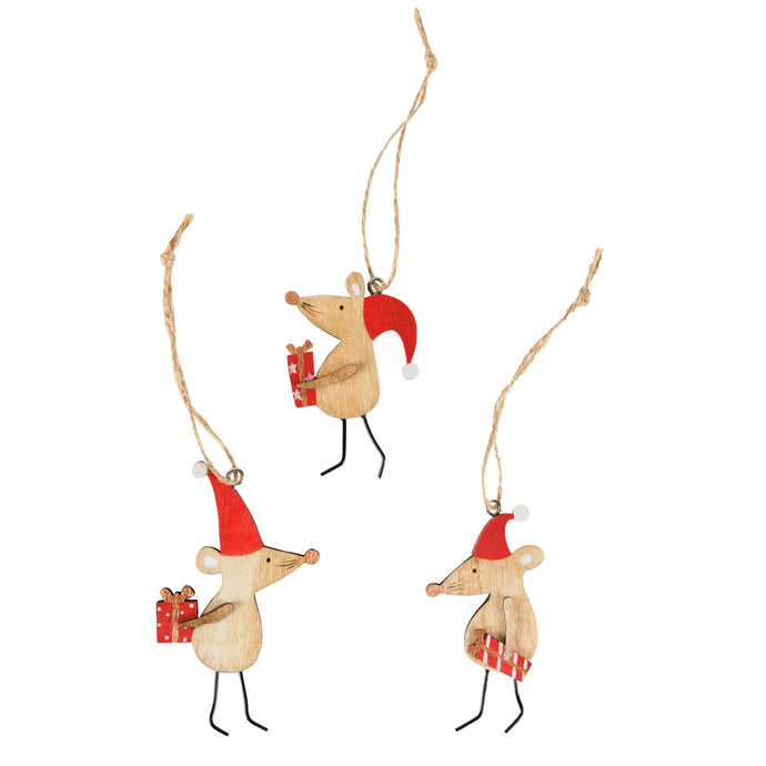 Christmas Mice Wooden Christmas Decorations Set of 3 - ad&i
