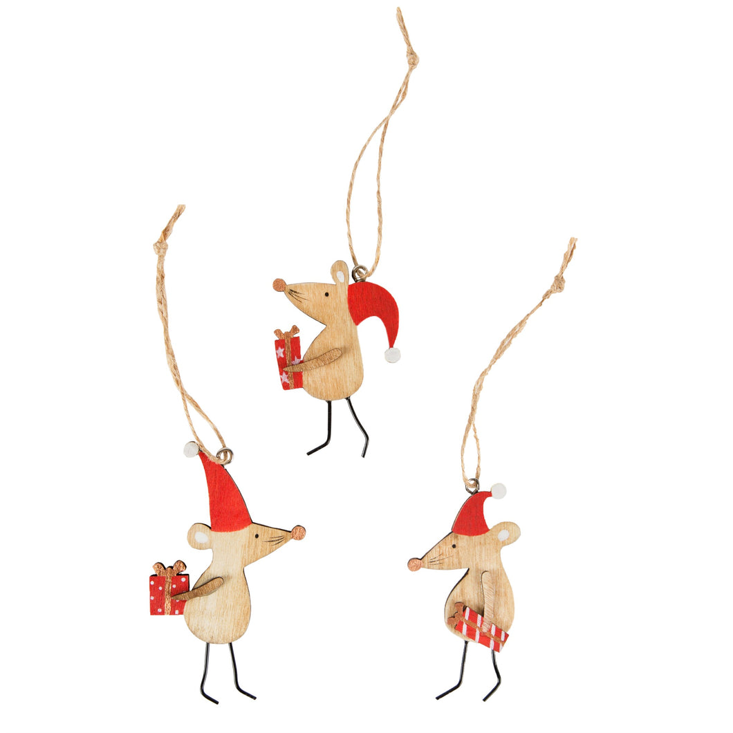 Christmas Mice Wooden Christmas Decorations Set of 3