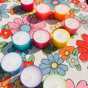 Assorted Summer Colour Tea Lights Set of 12 - ad&i