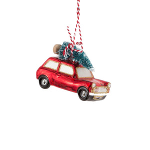 Coming Home For Xmas Red Car Shaped Bauble