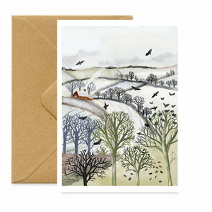Crows on Christmas Eve Greetings Card