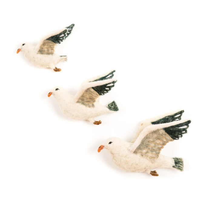Felt Flying Sea Gulls Wall Art Set of 3 - ad&i