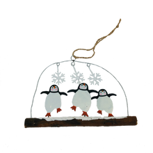 Load image into Gallery viewer, Dancing Penguins on a Twig Christmas Decoration - ad&i