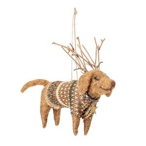 Dog dressed as a Reindeer Christmas Tree Decoration