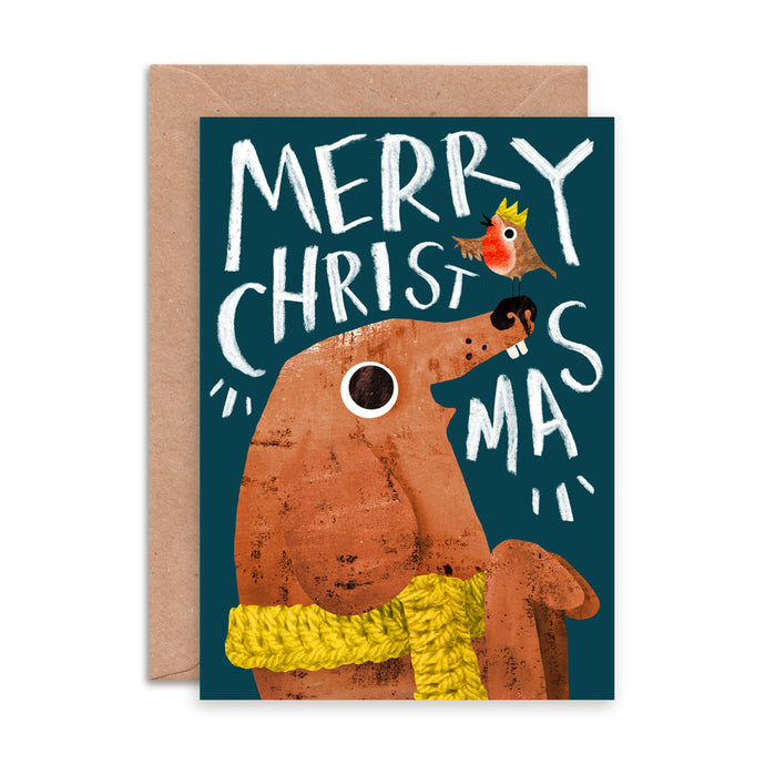 Festive Dog and Robin Christmas Card by Emily Nash - ad&i