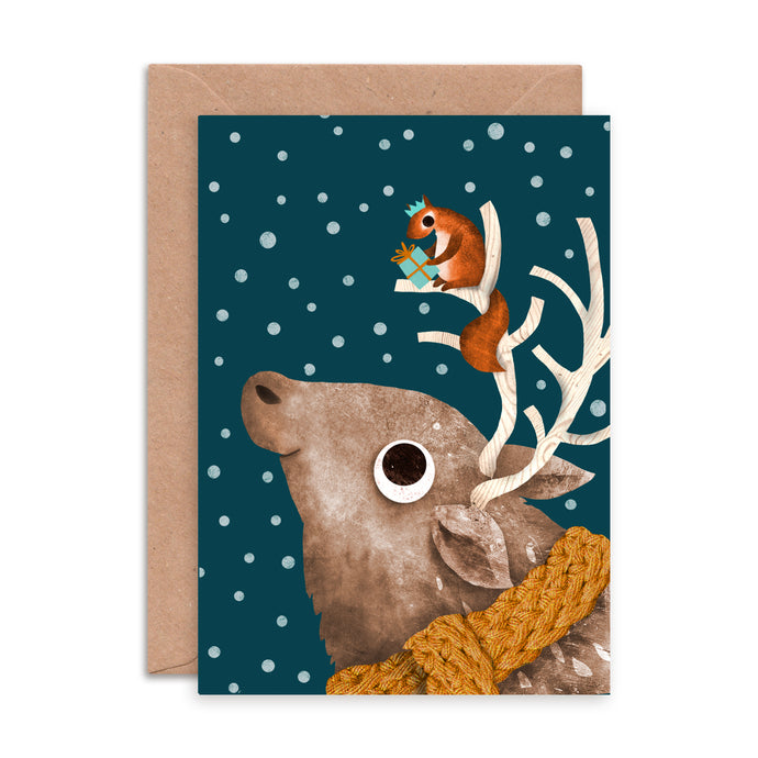 Reindeer and Squirrel Christmas Card