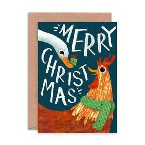 Chicken and Duck Christmas Card