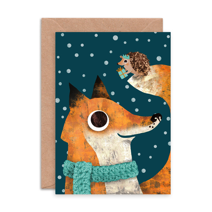 Fox and Hedgehog Christmas Card