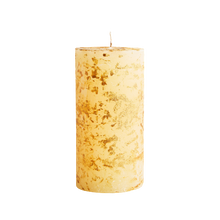 Load image into Gallery viewer, Ivory Inspiritus Scented Gold Marbled Pillar Candle