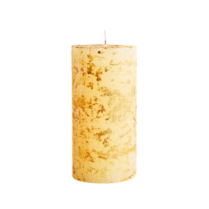 Ivory Inspiritus Scented Gold Marbled Pillar Candle