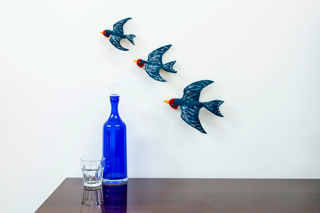 Felt Flying Swallows Wall Art Set of 3 - ad&i