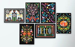 Folk Forest A6 Postcard Pack by Printer Johnson