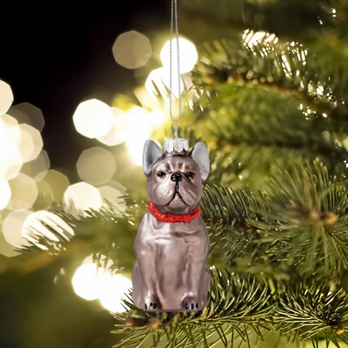 French Bulldog Glass Christmas Tree Decoration