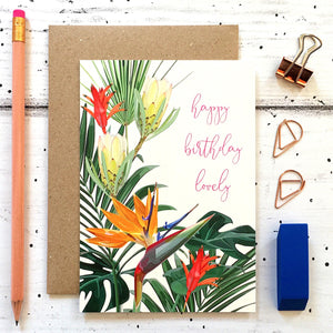Tropical Floral Birthday Card
