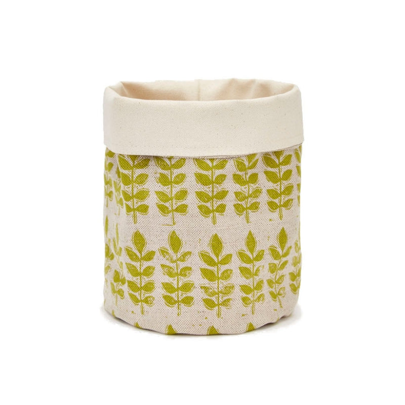 Green Leaf Linen Plant Pot Bag
