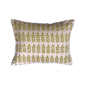 Green Leaf Print Linen Rectangle Cushion - ad&i
