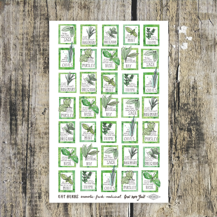 Eat Herbs Tea Towel