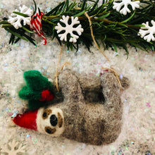 Load image into Gallery viewer, Simon the Sloth Felt Christmas Tree Decoration - ad&i