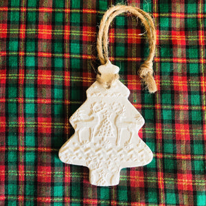 Scandi Embossed Tree Christmas Decoration - ad&i