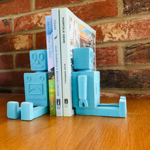 Load image into Gallery viewer, Light Blue Flock Robot Bookends - ad&i